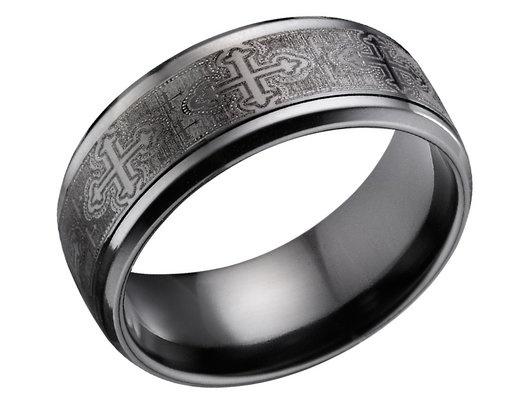Men's 9mm Cross Design Black Titanium Wedding Band (Lifetime Guarantee)