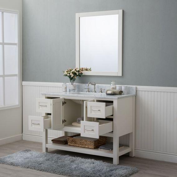 Alya Bath Wilmington 48 Inch Single Bathroom Vanity In White With