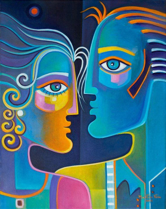 Original Oil Painting Canvas Cubism Abstract Marlina Vera Fine Art Gallery Artwork Couple Picasso Styl Cubist Paintings Abstract Art Painting Abstract Face Art