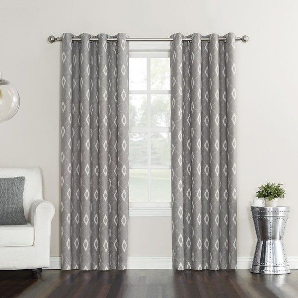 Sun Zero Elda Curtain (£38) ❤ liked on Polyvore featuring home, home decor, window treatments, curtains, grey, grommet draperies, textured curtains, gray home decor, grey panels and grey home decor