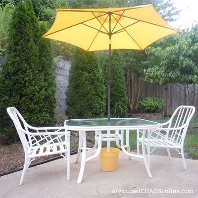 make your own outdoor umbrella base for cheaaap