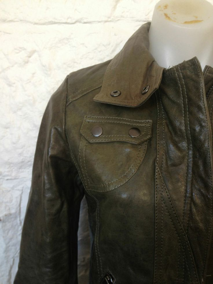 Ladies K&C Olive Green 100% Leather Lined Jacket Coat, Med - Now Selling! Click through to go to eBay auction.