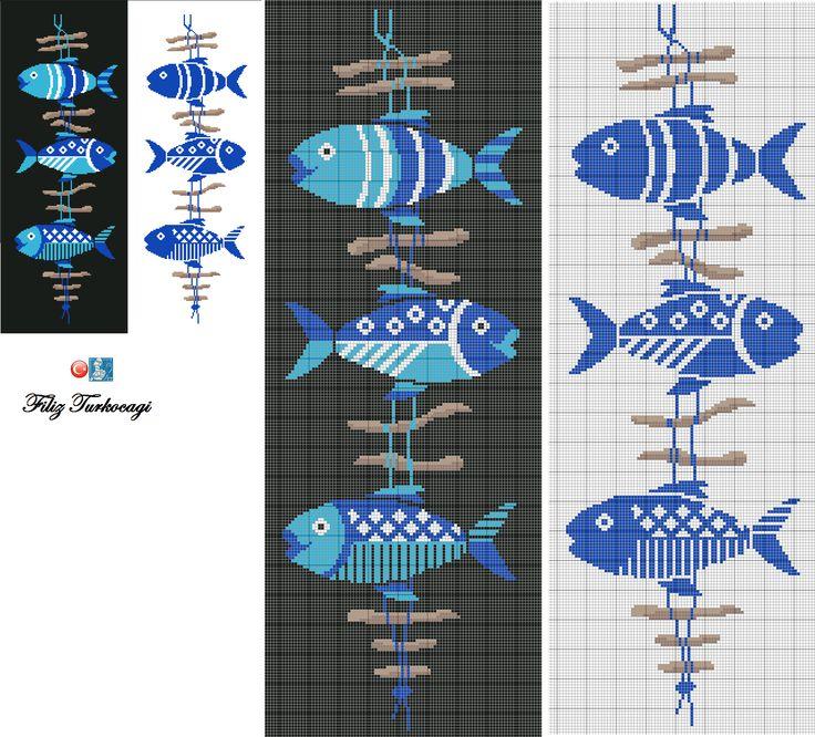 Balıkları daha az renkle de çalıştım, yaz mevsimine daha uyar değil mi ? Hangisini isterseniz...Designed by Filiz Türkocağı...