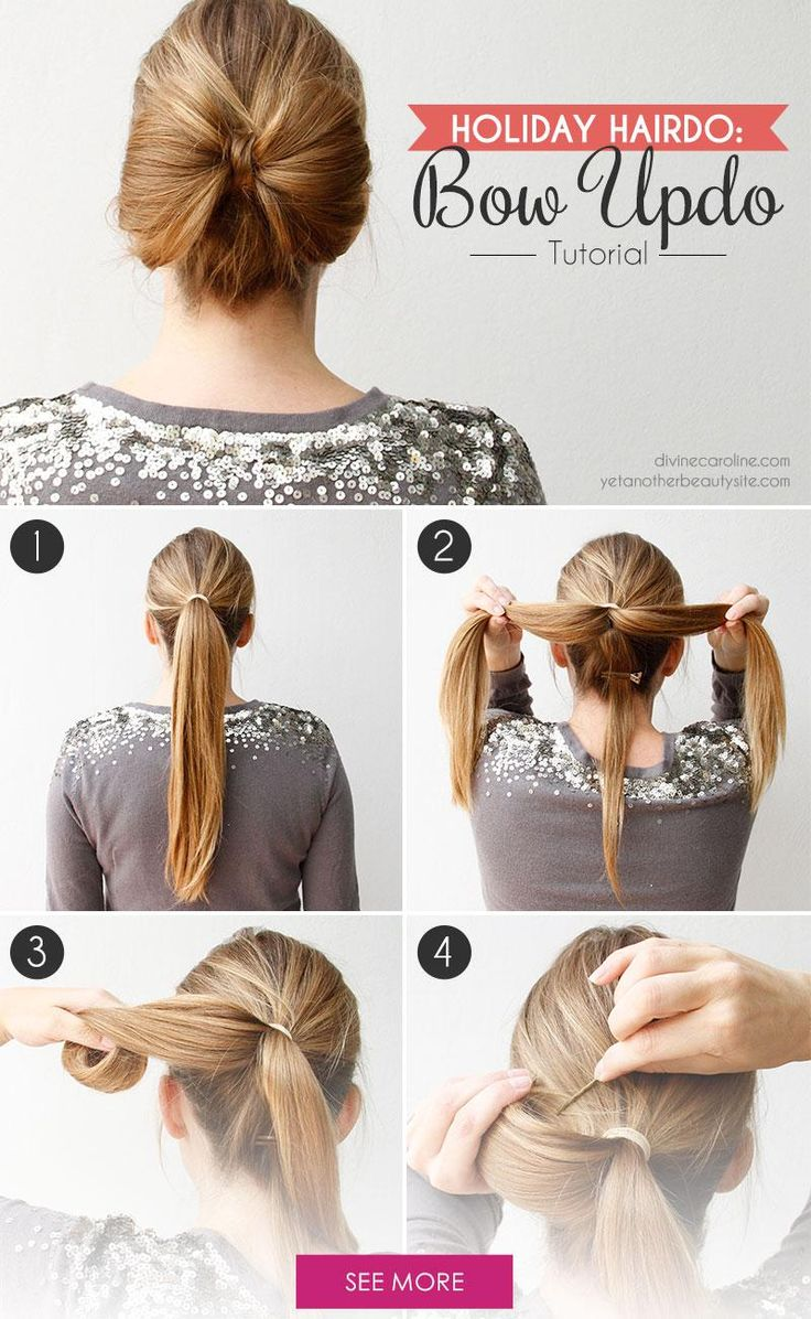 537 best hairstyles images on pinterest chic hairstyles hairdos hair bow tutorial a festive holiday updo pmusecretfo Images