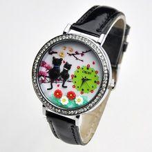 CATS Mini horloge Kitty 3d klei horlogeglas casual kleding strass polshorloge Garden NIEUW Fashion vrouwen Sakura Koreaanse Girl (China (vasteland))