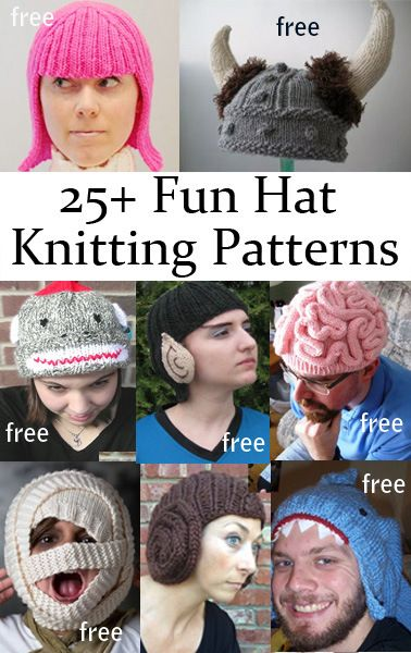 Fun Hat Knitting Patterns free novelty costume hat knitting patterns -- great for gifts and Halloween!