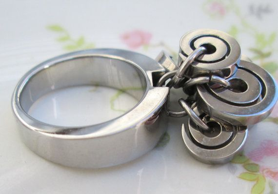Vintage modernist Circle charm ring Abstract by Holliezhobbiez, $9.99