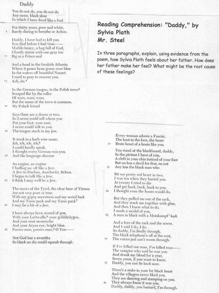 Daddy - Sylvia Plath <3 :(