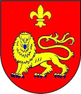 Galhardo: de vermelho, com um leopardo de ouro passante, armado e lampassado de azul, no chefe uma flor-de-lis de ouro.