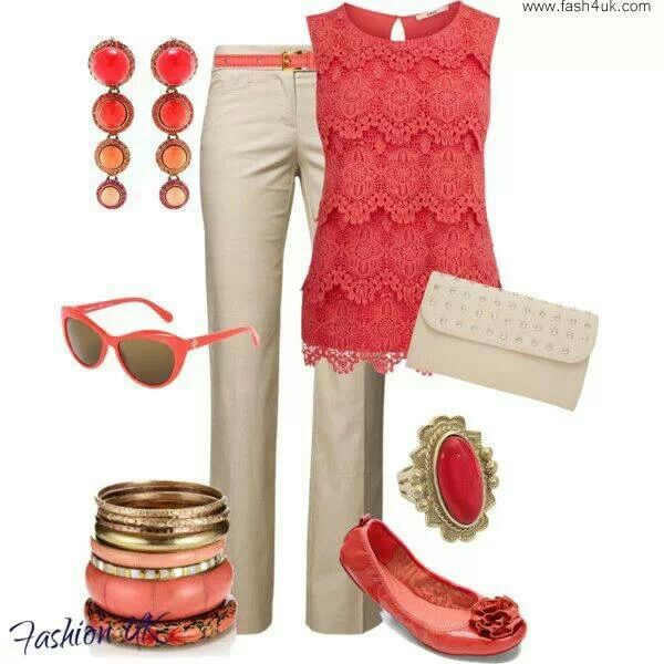 Cute Coral Work Outfit My Dream Wardrobe Pinterest