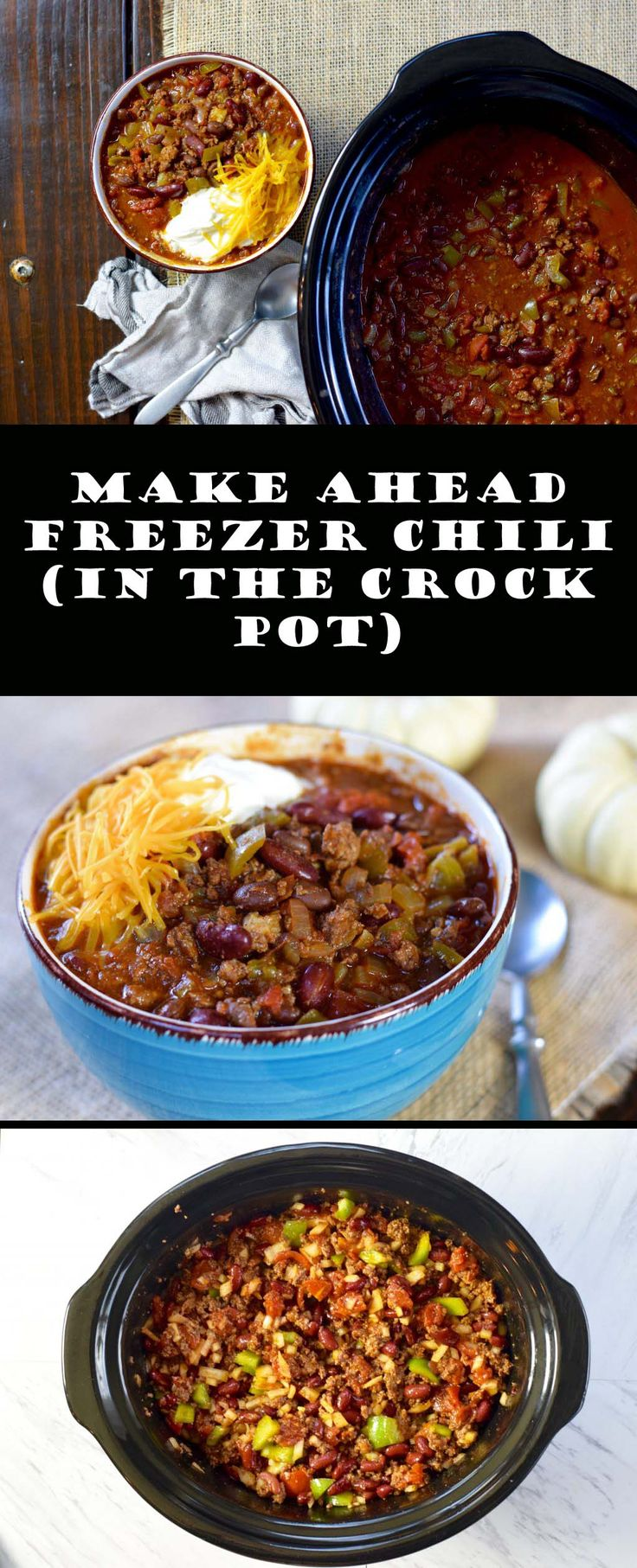 This Make Ahead Freezer Chili comes together quickly and cooks on low heat all day in your crock pot. Serve this rich and robust chili on a cold winter day