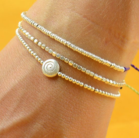Silver Beaded bracelet #bracelet