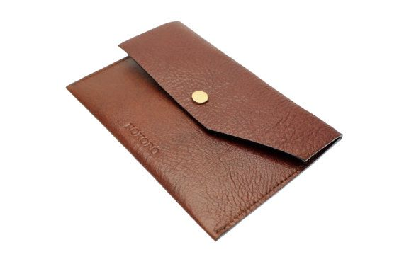 Personalised mens elegant brown cowhide leather by Kokoroleather