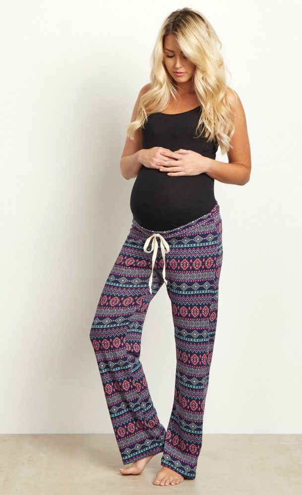 Once you put these soft and cozy maternity pajama pants on you won't want to take them off! These tribal print maternity pants can double as pajamas or lounge wear, and with a trendy print you can't go wrong no matter how you wear them. Pair this with a basic maternity cami for a complete casual or sleepwear ensemble.  Perfect for women's and maternity.