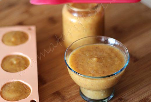 6 aylık bebekler için ek gıda incir, muz ve şeftali püresi