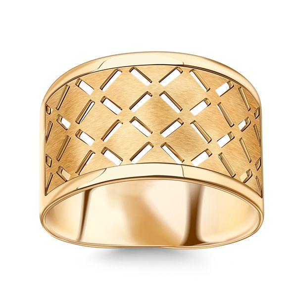 Staviori Pierścionek. Żółte Złoto 0,585. Szerokość 11,50 mm.   , Victorias - Nowoczesna biżuteria srebrna i magnetyczna oraz zegarki.