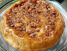 upside down praline apple pie~~important on time left in pan after baking.  Too long and you won't get it out of the pan!