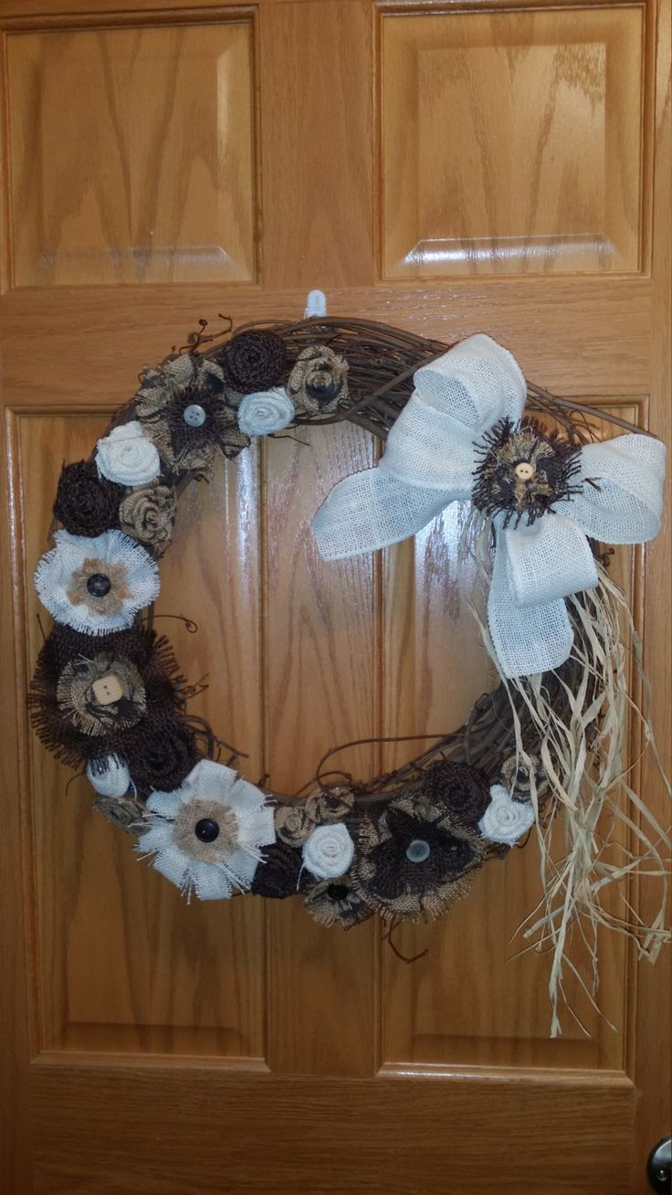grapevine crafts ideas grapevine wreath with handmade burlap flowers by 2111