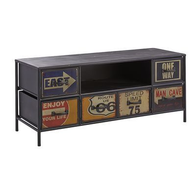 Route 66 TV Stand - I really like this except for the door with the man cave sign. Lame. As a woman, I would have thought about this for my living room..... guess they wanted to limit their sales?
