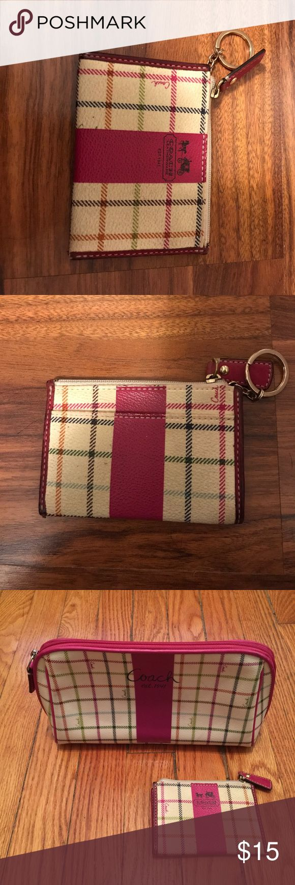 Spotted while shopping on Poshmark: Coach Poppy Mini Skinny Wallet in Pink Plaid! #poshmark #fashion #shopping #style #Coach #Handbags