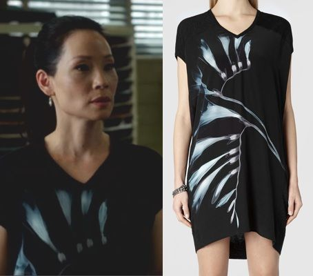 Elementary Season 2, episode 19: Click to find out who made Joan Watson's black, x-ray/graphic print t-shirt dress #elementary #joanwatson