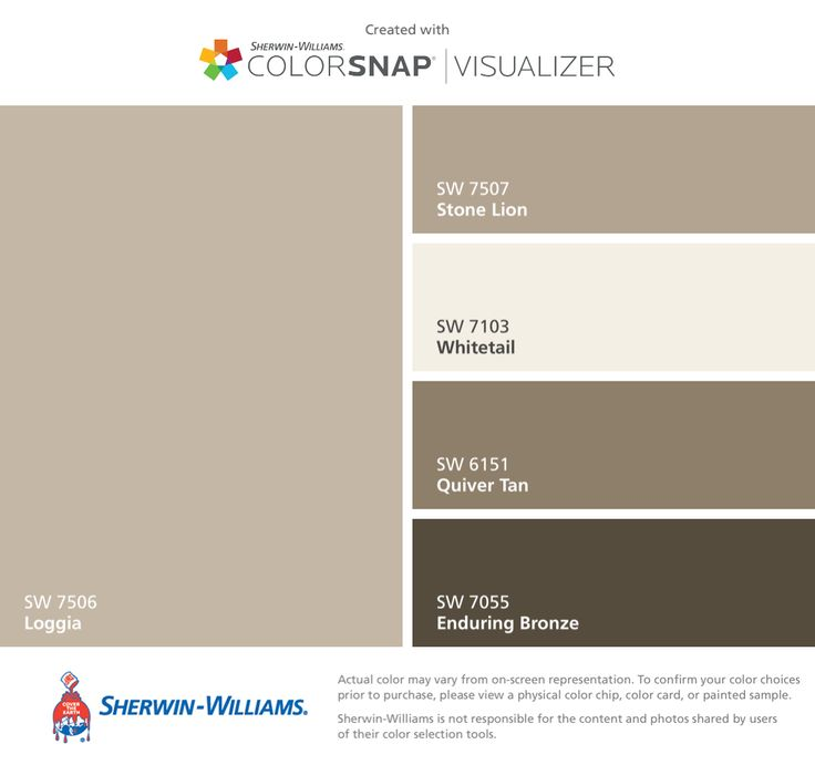 I found these colors with ColorSnap® Visualizer for iPhone by Sherwin-Williams: Loggia (SW 7506), Stone Lion (SW 7507), Whitetail (SW 7103), Quiver Tan (SW 6151), Enduring Bronze (SW 7055).