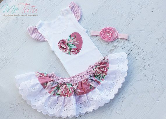 Vintage Shabby Chic 'Vintage Pink Floral' Ruffled 3 Piece Skirt Nappy Diaper Cover Singlet Tank Top Headband Baby Girl Set