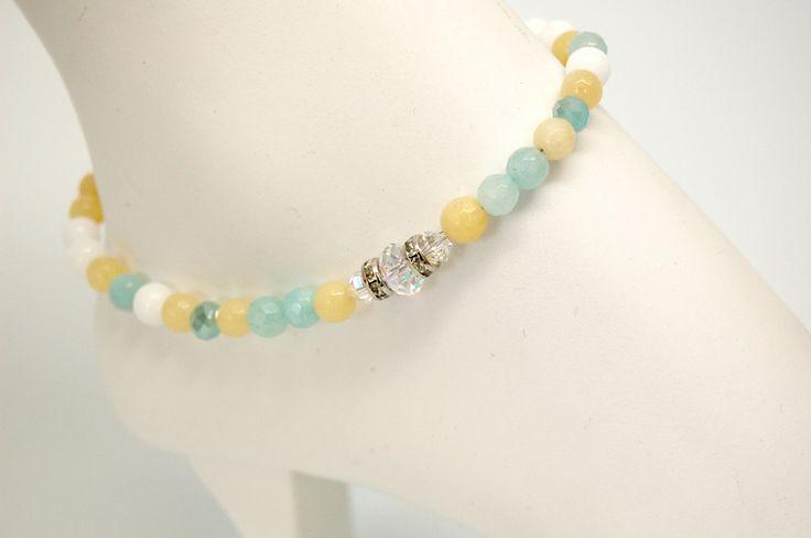 Bracelet cheville cristal bijoux cheville pierre précieuse chaine de pied élégant bijou acier inoxydable Création Cristal Ev. #Aqua de la boutique CristalEv sur Etsy