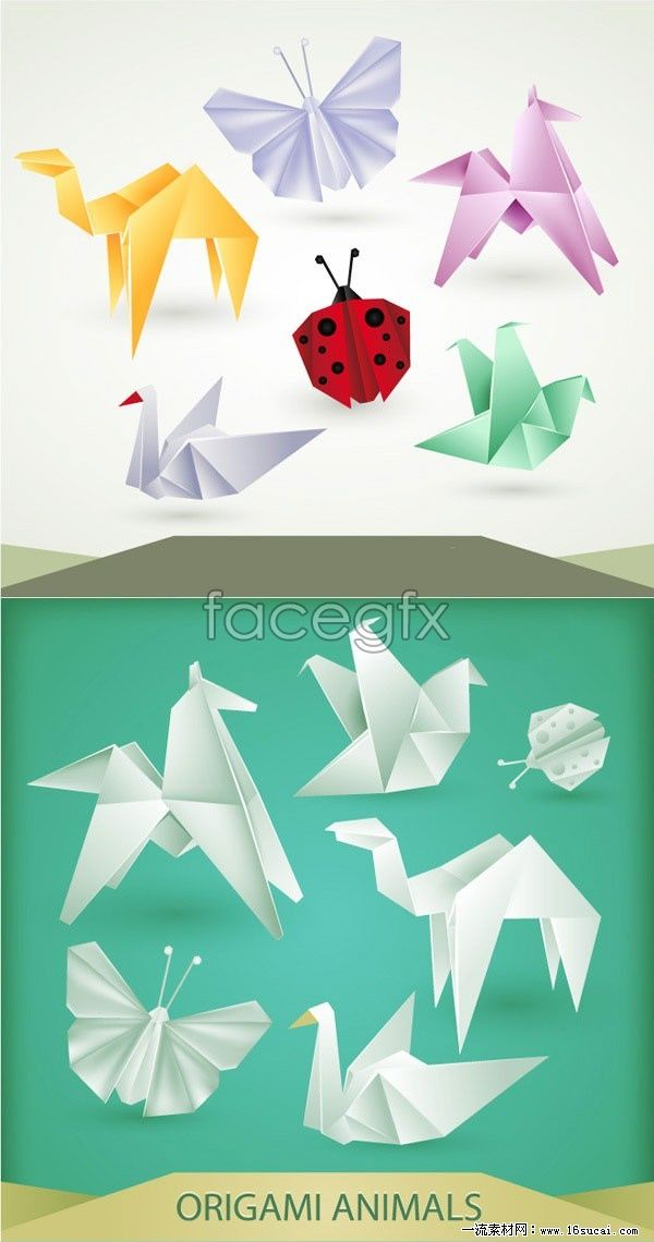 Variety of creative animal origami pattern vector