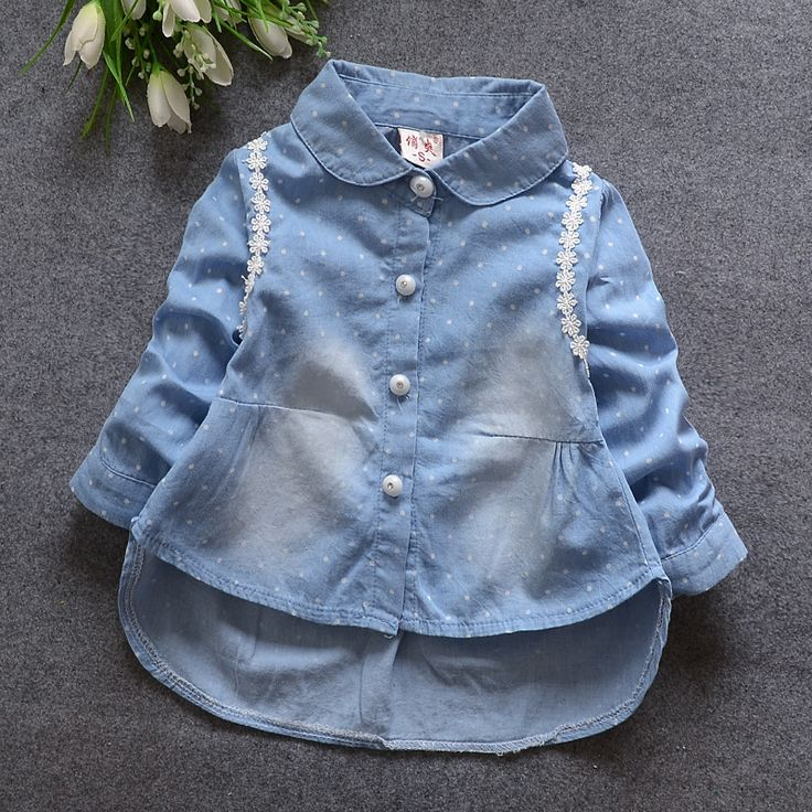 Купить 2016 весной и осенью новый женский ребенок женского пола ребенка ковбой точка кардиган рубашка TST0033и другие товары категории Блузкив магазине Ningbo chen bei Trading Co., Ltd.наAliExpress. рубашки одежды и рубашка флаг