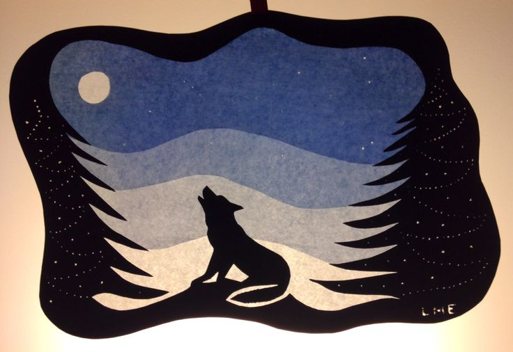 """wolf crying at full moon"" ( #LME )   #winter #transparency #waldorf #steiner #transparant #wintertransparency"