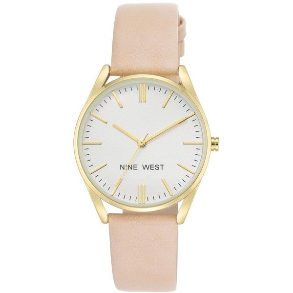 Nine West Women's Pastel Pink Faux Leather Strap Watch 36mm... (€28) ❤ liked on Polyvore featuring jewelry, watches, accessories, pink, nine west watches, pastel jewelry, nine west jewelry, pink jewelry and nine west