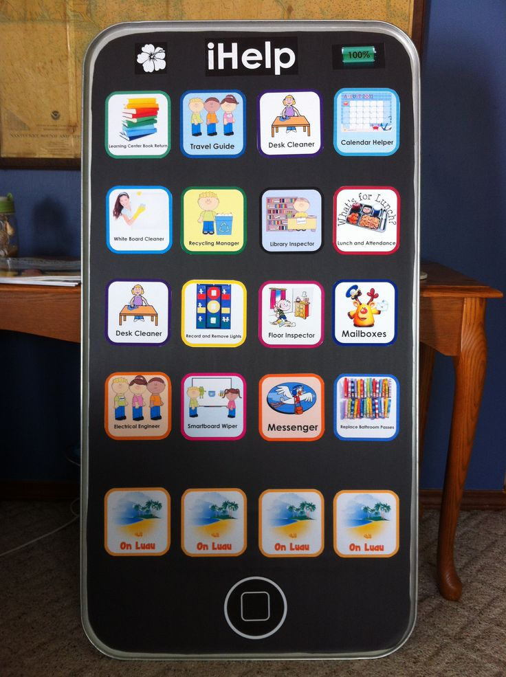 """iHelp classroom job chart This was made with an oil drip pan (Walmart- $10), black bulletin board paper and notebook """"apps"""". You can easily create customizable apps from the notebook software. Use magnets under apps to assign jobs to students."""
