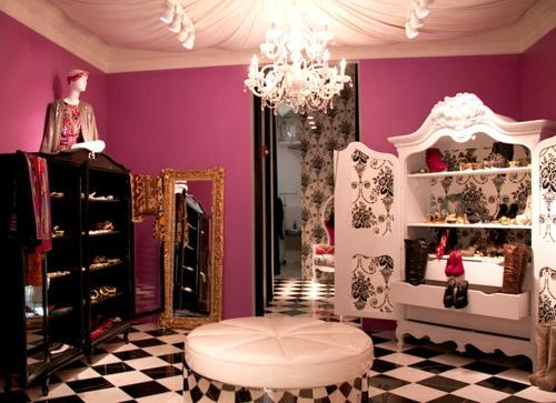 Pink.black.white.closet/vanity.