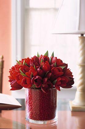 red hot vday floral arrangement martha stewart