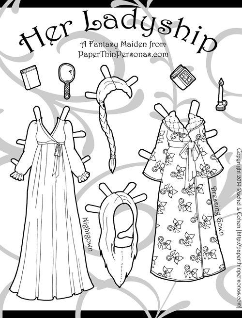 Fantasy Printable Paper Doll målarbok