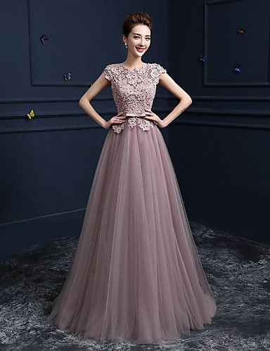 Formal Evening Dress - Blushing Pink Ball Gown Jewel Floor-length Lace / Satin / Tulle 2016 – $129.99