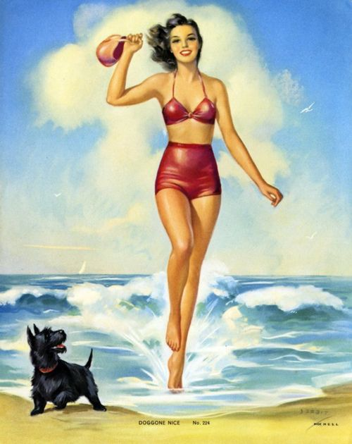 Jules Erbit Doggone Nice vintage pin-up on the beach with Scottish terrier / Scotty dog