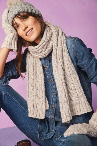b799dab8ff Cable knits are a charming way of embracing the cold. With our oatmeal  cable scarf