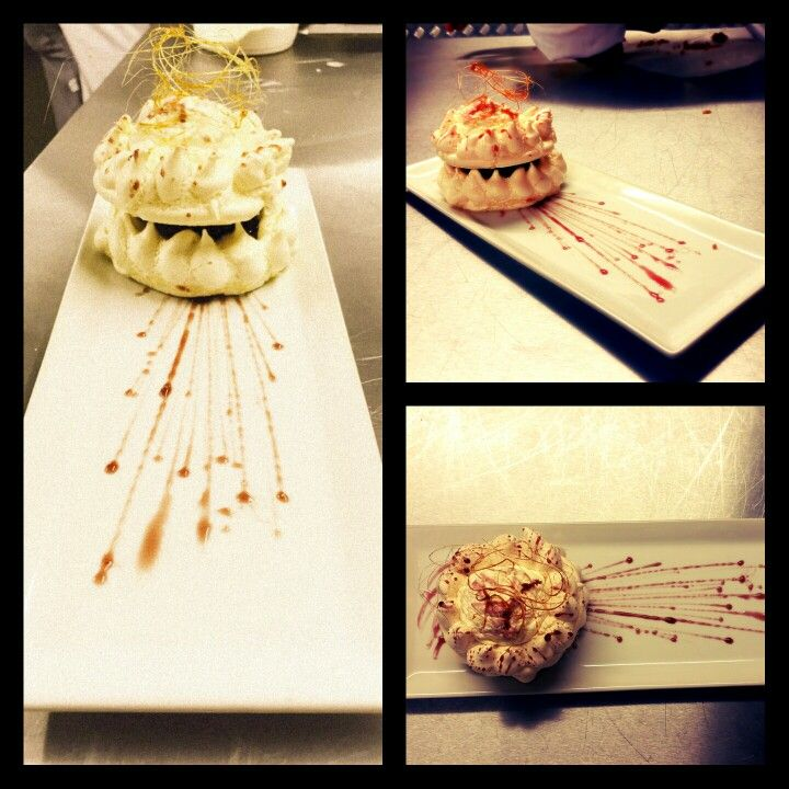 Black Cherry Vacherin   Traditional Italian Meringue served with Black Cherry Compote, topped with Cream and a Cherry reduction Syrup