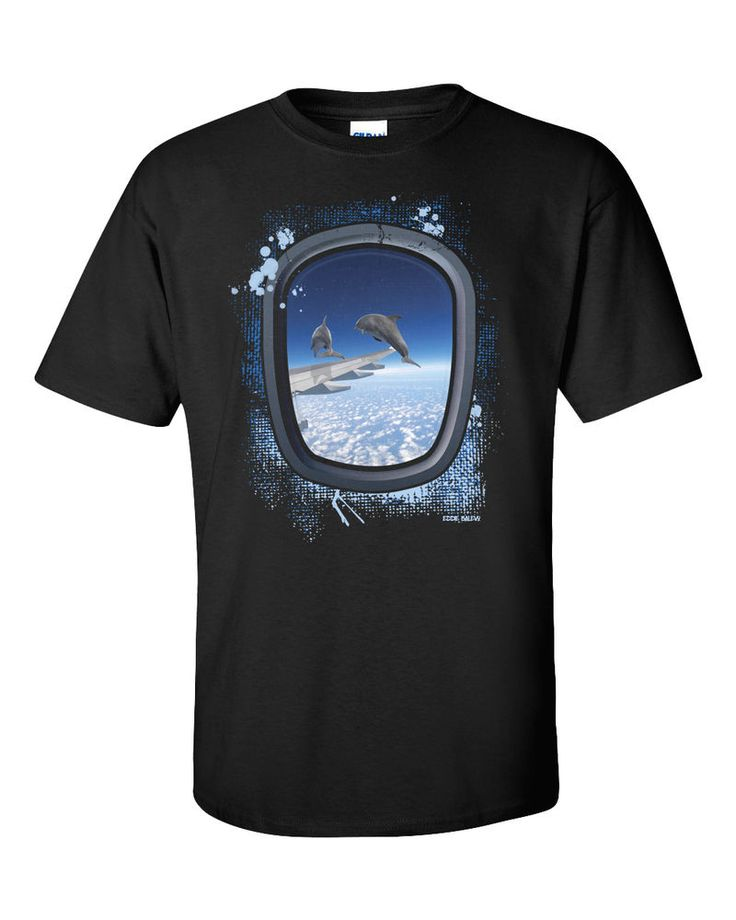 Dolphins T-Shirt Surreal Art Funny Airplane Dive Swim Vintage YOLO Gift Tee New #Gildan #GraphicTee