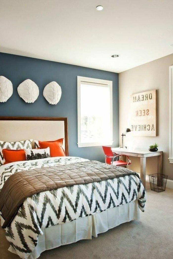 Grand Decoration Chambre à Coucher Adulte Moderne Déco Simple Idée Parfait Mur  Bleu Associée Avec Mur Taupe