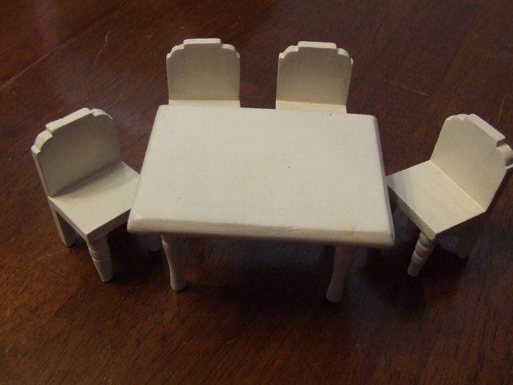 Wooden Doll House Kitchen Table and Chairs, Miniature  Furniture, White Table and 4 Chairs, Vintage Wooden Dolls House Furniture  Set by BeautyMeetsTheEye on Etsy