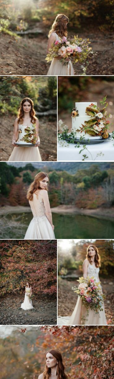 Red haired bride in an autumn inspired bridal shoot with hues of orange and red   Juliette Bisset Photography