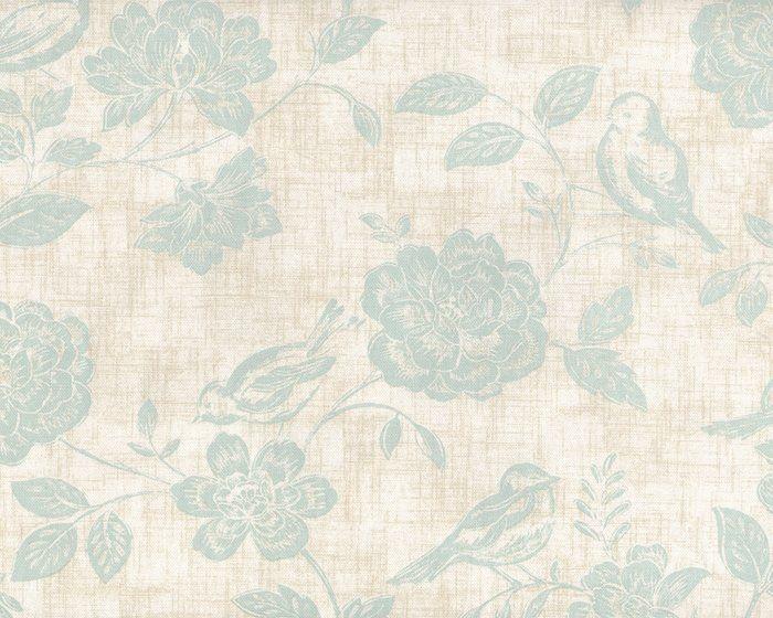 Englischer Dekostoff iLIV BIRD GARDEN, Vögel und Rosen, helles mintgrün-natur meliert