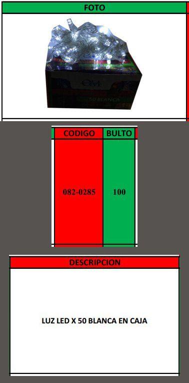 LUZ LED X 50 BLANCA EN CAJA x 100u
