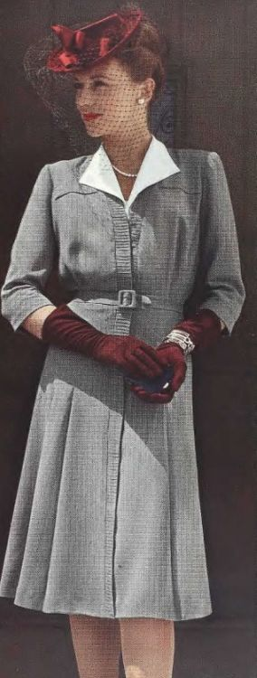 'Looking Glamorous' - 1943 day dress black and white plaid houndstooth checks white collar red hat gloves color photo print ad model ~