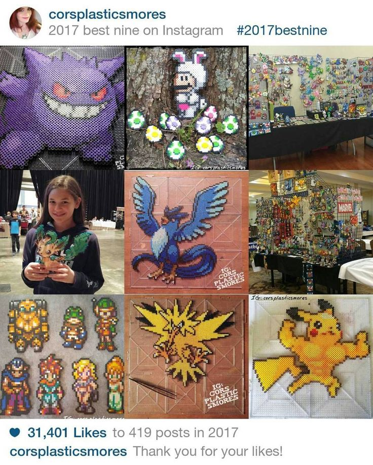 My #2017bestnine ❤️❤️❤️ I knew you guys liked Pokémon but I'm still surprised that Gengar got so many likes that day! 😂 Following Gengar in order from left to right on all 3 rows: my Easter bunny post, my booth at CyPhaCon 2017, a girl at NOLA Gaming Fest 2017 holding Shiny Leafeon, Articuno in mini beads, my booth at CONtraflow 2017, my Chrono Trigger set, Zapdos in mini beads, and last but certainly not least, the Pikanator 💛 It's been an epic year and it can only get better, you guys…