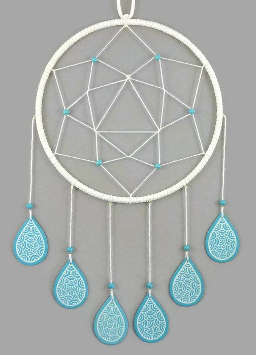 White dreamcatcher with turquoise blue drops, modern and sweet dreamcatcher, pastel dreamcatcher, birth gift, nursery decor, wall decor for kid's room, home decor - Made on order by @savousepate on Etsy - pinned by pin4etsy.com