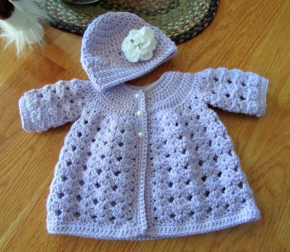 Crochet Baby Sweater and Hat/Baby Girl Outfit/Baby by TheComfyBaby